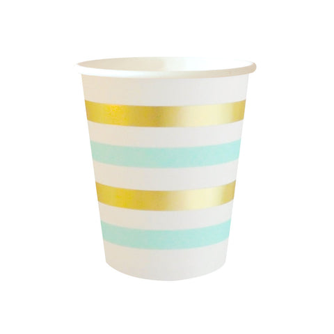 gold and mint cups