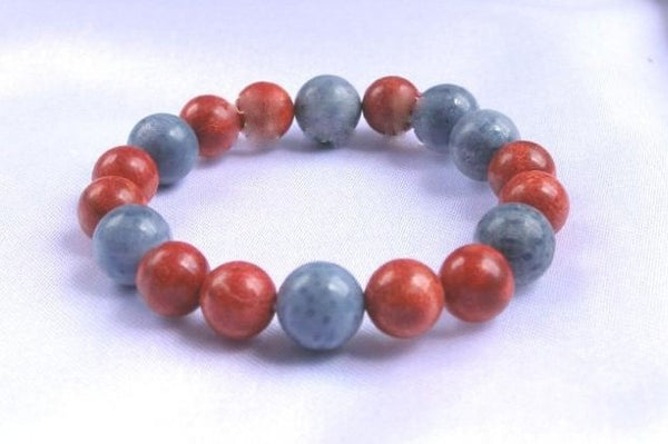 Sponge coral bracelet band - blue and red