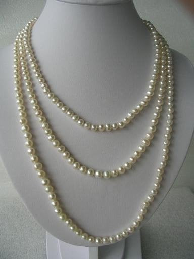 "68"" super lustrous white FW pearl necklace"