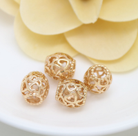 10 pcs 24k gold plated heart hollow brass spacer beads  brass caps brass connector