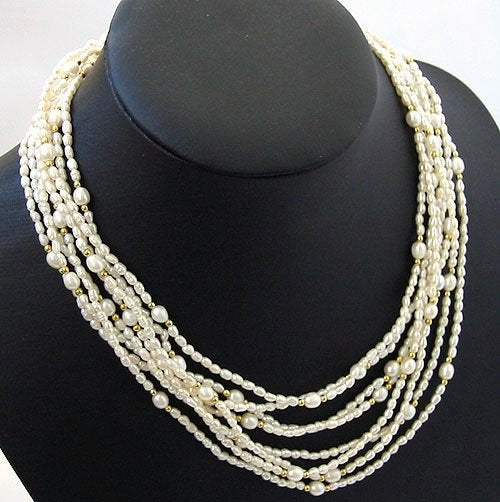 Excelent 3-8mm 8rows white Cultured Pearl Necklace