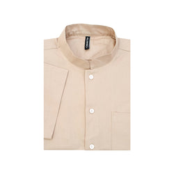 Band Collar Short Sleeve Shirt - Khaki