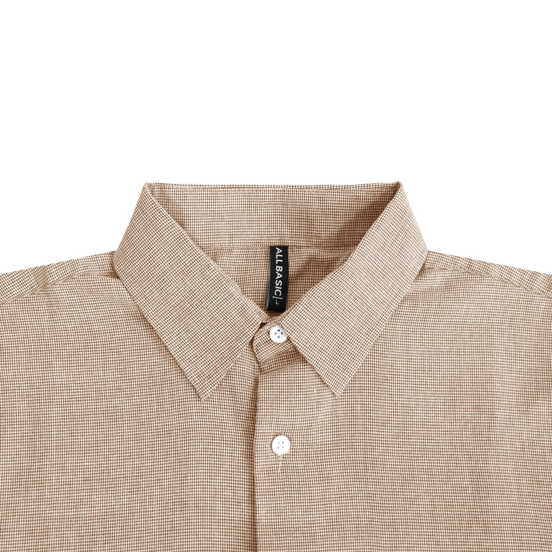 Houndstooth Slim Fit Long Sleeve Shirt - Brown
