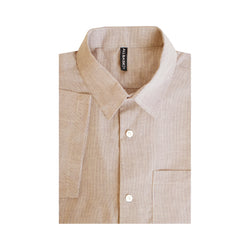 Stripe Slim Fit Short Sleeve Shirt - Brown