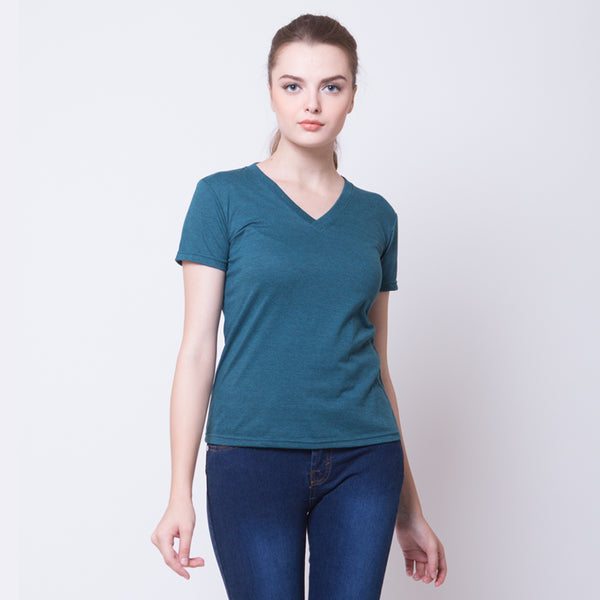WOMEN BASIC V NECK TEES - TOSCA