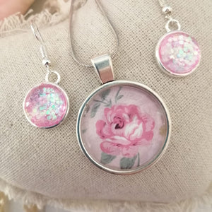 Romantic Rose Pendant and  dangle earring set
