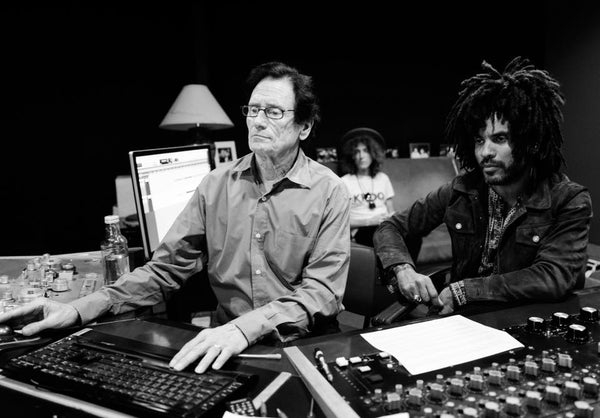 Bernie Grundman and Lenny Kravitz at Bernie Grundman Mastering Studios in Los Angeles, CA