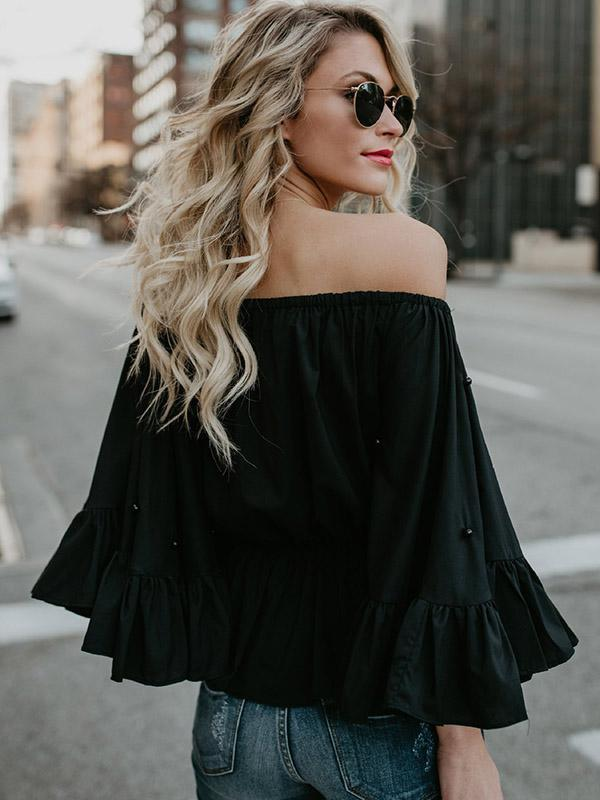 Beaded Flared Sleeves Blouses&Shirts Top