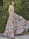 Floral Empired Spaghetti-neck Maxi Dress