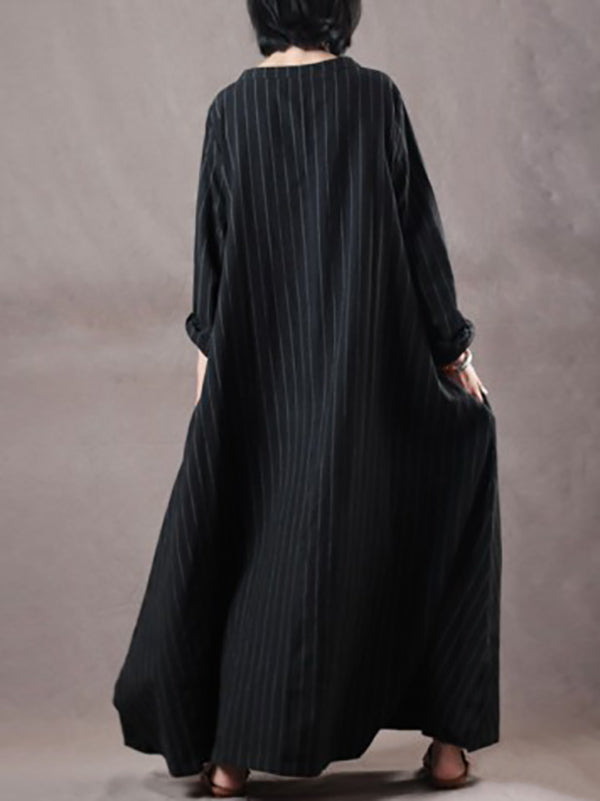 Plus Size Loose Black Striped Long Dress