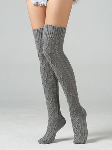 Solid Color Knitting Ankle Socks