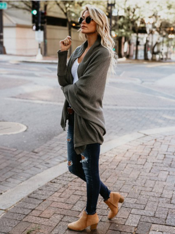 Solid Color Cardigans Tops