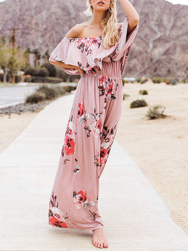 Sexy Off-the-shoulder Ruffled Maxi Dress