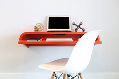 Minimal Wall Desk | Orange Red | Small | Pull-out Shelf | Ideal for Home-Office
