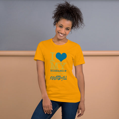 Love my Husband and Football Jacksonville - Football Fan T-Shirt