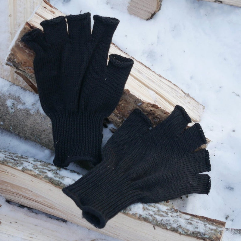 Black Wool Fingerless Gloves S-3220