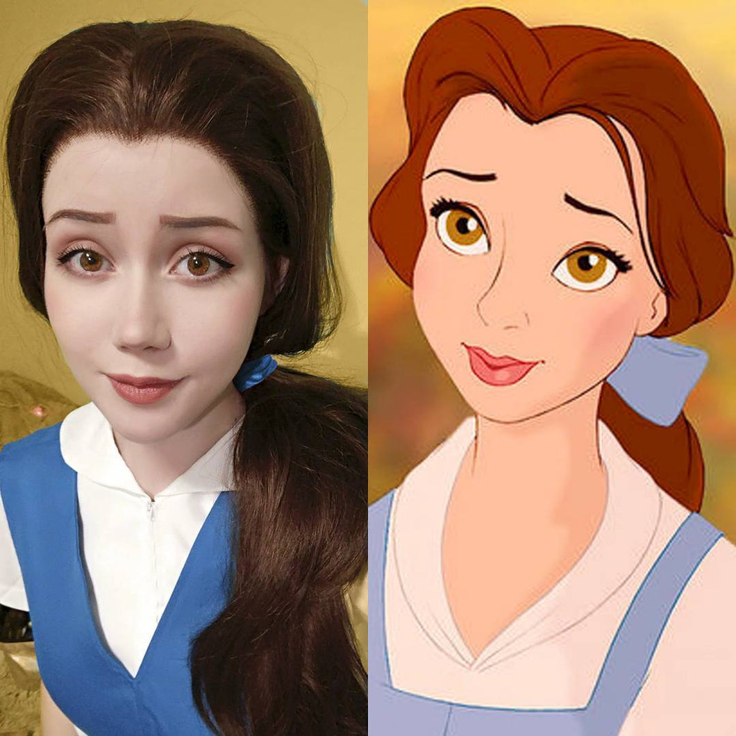 Belle Inspired Brown Hair Synthetic Lace Front Wig