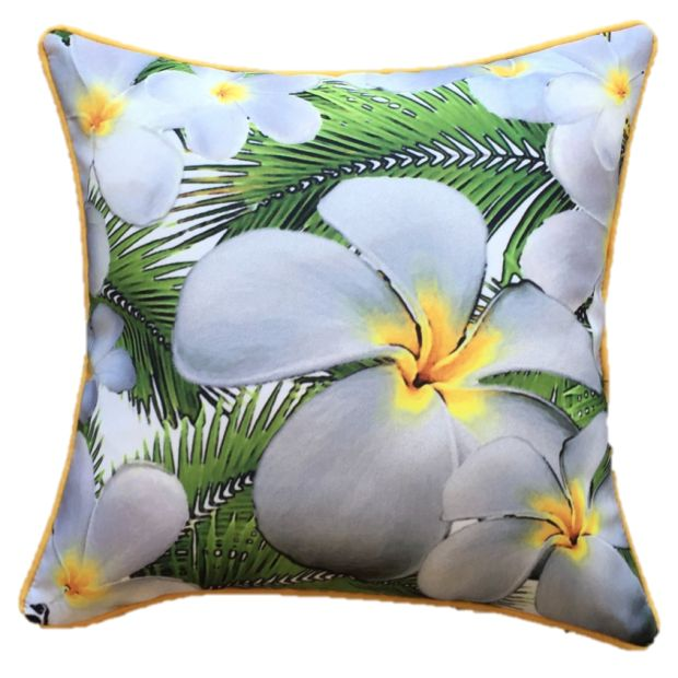 Frangipani White Outdoor Cushion Cover 45 x 45cm
