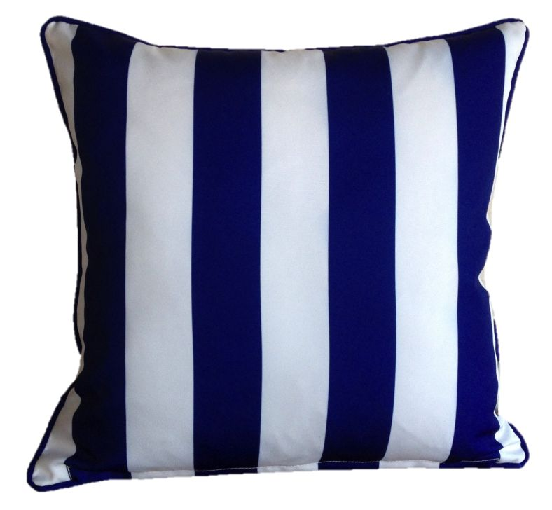 Mykonos Blue Yellow Stripe Outdoor Cushion Cover 60 x 60cm