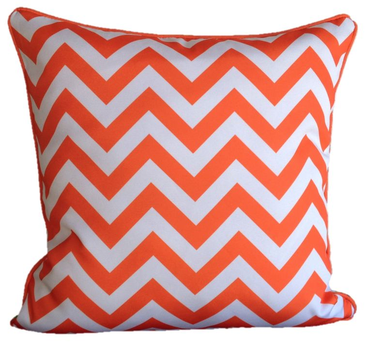 Orange Lime Green Chevron Outdoor Cushion Cover 45 x 45cm
