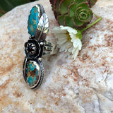 Turquoise flower Sterling Silver ring in a size 7 US