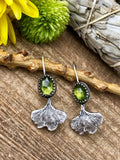 Ginkgo Biloba and Peridot rose cut gem drop Sterling Silver Earrings