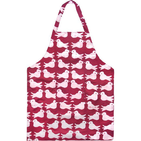 Apron Two Birds Design Plum