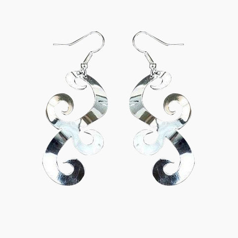 Large Silverplated Scrollwork Earrings