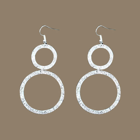 Large Silverplated Double Circle Earrings