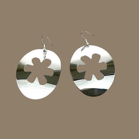 Large Silverplated Flower Cutout Earrings
