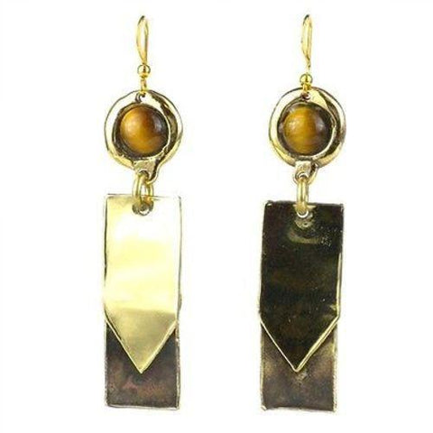 Golden Tiger Eye To the Point Brass Earrings Handmade and Fair Trade