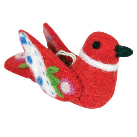 Alpine Love Bird Felt Ornament - Red
