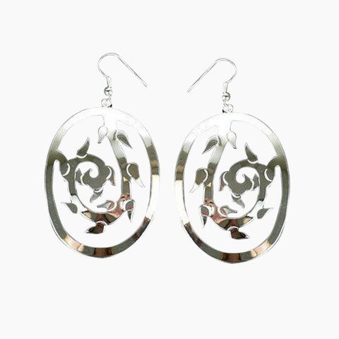 Large Silverplated Vine Earrings