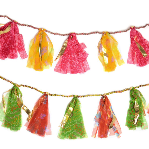 Upcycled Sari 8-foot Party Tassel Garland