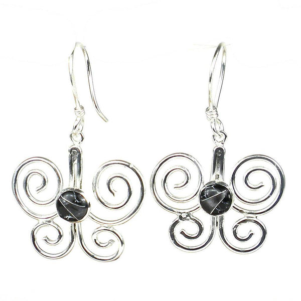 Silver Butterfly Earring with Black Mosaic Accent