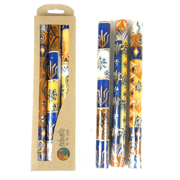 Tall Hand Painted Candles - Three in Box - Durra Design