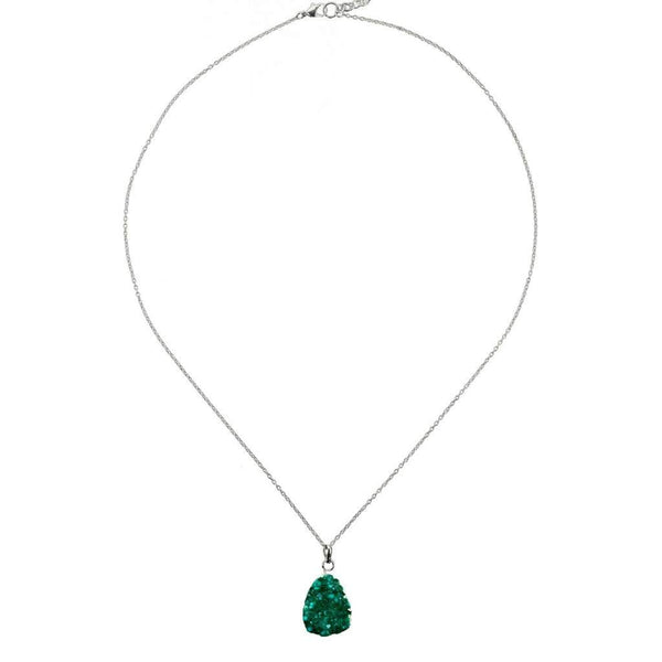 Rishima Druzy Drop Necklace - Seafoam