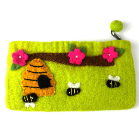 Handmade Green Bee Felt Clutch