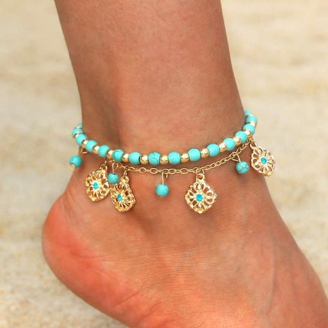 Handmade Beads Anklets Gold Chain Anklets For Women Ankle Bracelet Charms Pendant Jewelry