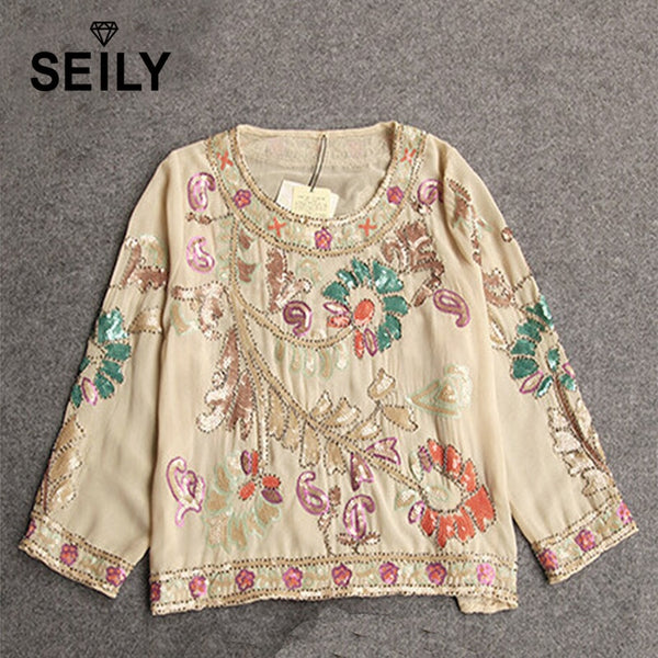 Vintage Sequin Chiffon Blouse Handmade Embroidery Ethnic Pattern Floral Shirt 2019 Latest Elegant Tops