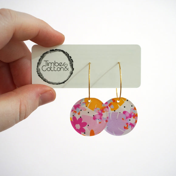 Polka-dot Garden Circle Hoops- Timber & Cotton