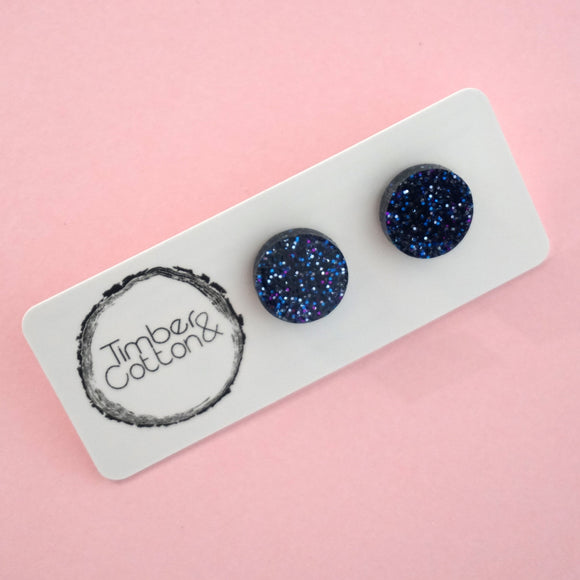 Circle Stud Earring (13mm)- Holographic Navy Glitter