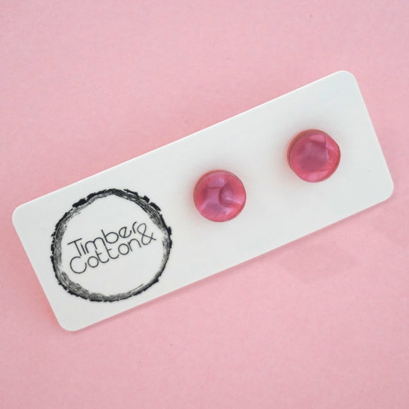 Circle Stud Earring (10mm)- Pink Crystal