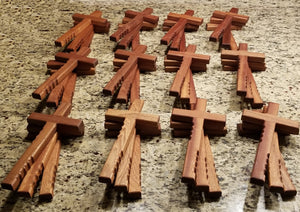 "Powerful handheld Christian cross with finger grips.  The beautiful wooden cross is 12"" x 6"" of solid mahogany."
