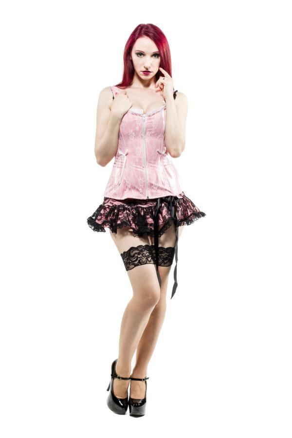 Micro mini skirt with pink vinyl and black laceAnother Way of Life