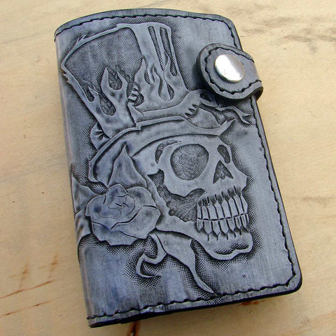 Bifold cow leather wallet biker style white  with skull by Another Way of LifeAnother Way of Life