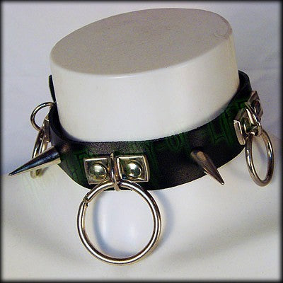 Black leather punk choker handmade with rings and spikesAnother Way of Life