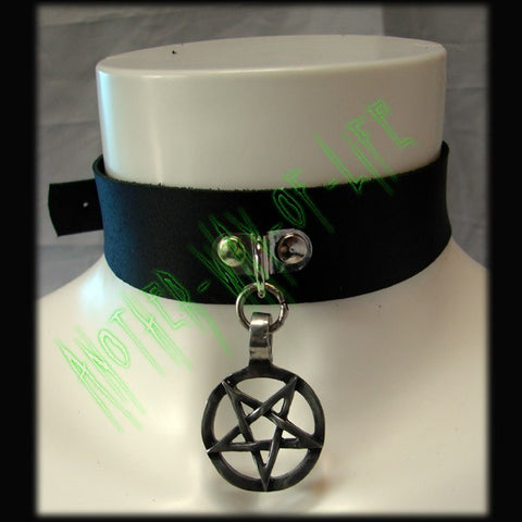 Leather Choker with inverted pentagram medallionAnother Way of Life