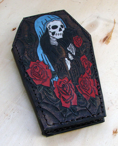 Biker style coffin wallet with santa muerte and a spider webAnother Way of Life