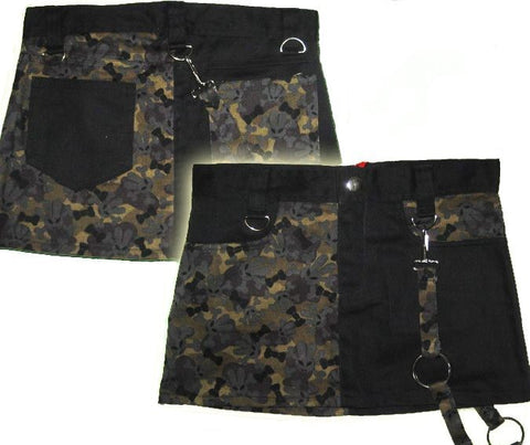 Punk rock mini skirt split in black and camouflaged